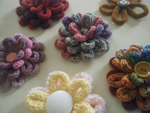 Spool Knit Flowers - finally something cute to make with all those miles of French knitting!