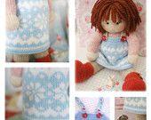 Sternenhimmel Puppe Pinafore Muster stricken / Teestube gestrickt Pinafore / Pdf Puppe Kleidung Spielzeug stricken Muster / INSTANT Download