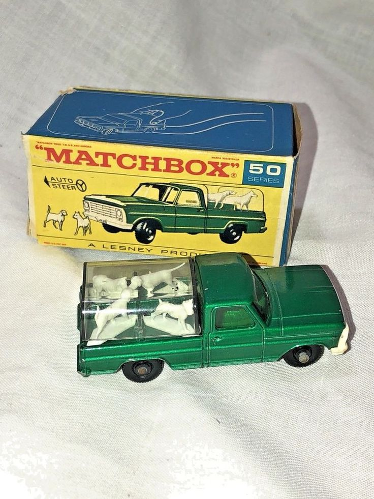 50 MATCHBOX LESNEY FORD KENNEL TRUCK; DOGS WITH PLASTIC BED COVER  #Matchbox #Ford
