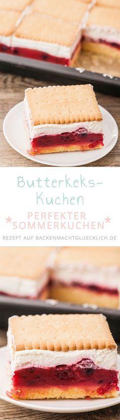 Dieser Butterkekskuchen mit Himbeeren ist einer unserer allerliebsten Sommerkuchen: der Butterkekskuchen ist schnell gemacht und durch die Beerenfüllung herrlich frisch und fruchtig.