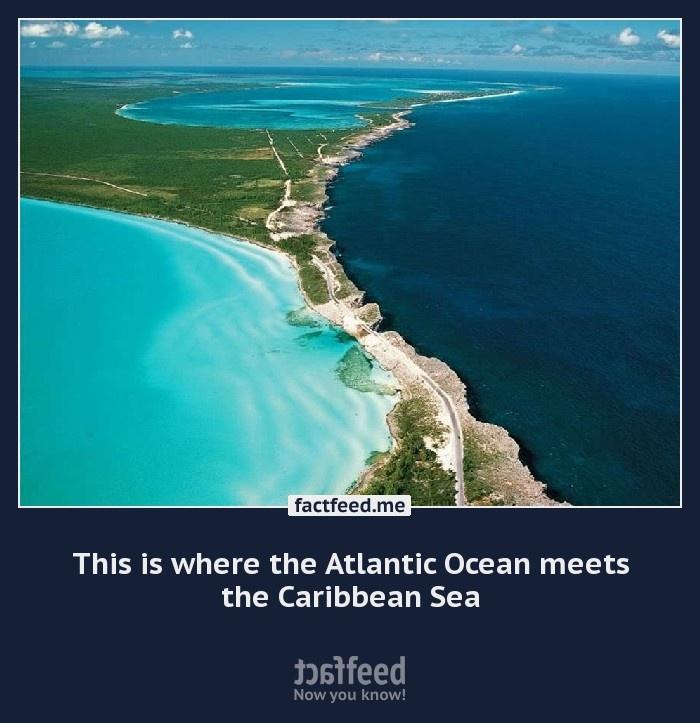 does atlantic ocean meet caribbean sea