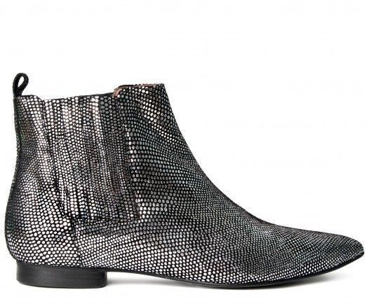 Ladies Reine Lizard Silver Boot  | H London