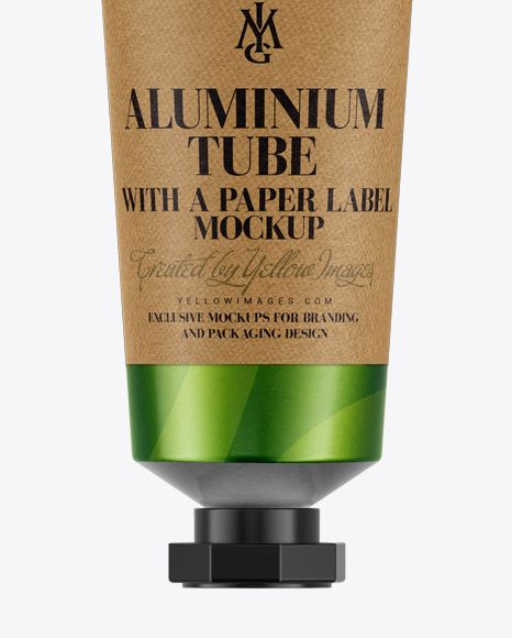 Aluminium Tube with a Paper Label Mockup. Preview (Close-Up)