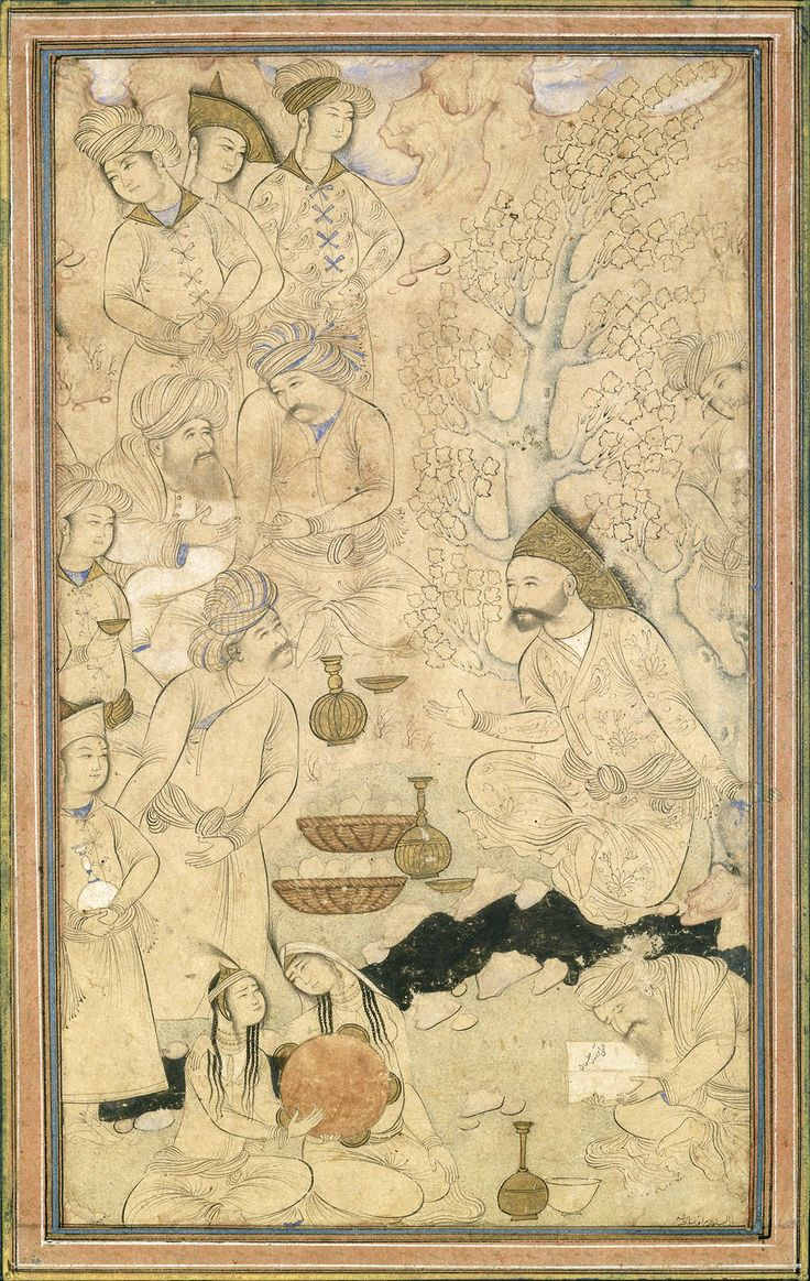 "Partly colored drawing pasted on an album leaf. ""A Prince with Courtiers in a Landscape"". Attributed to Muhammad Qasim Iran, Isfahan (Herat); c. 1650"