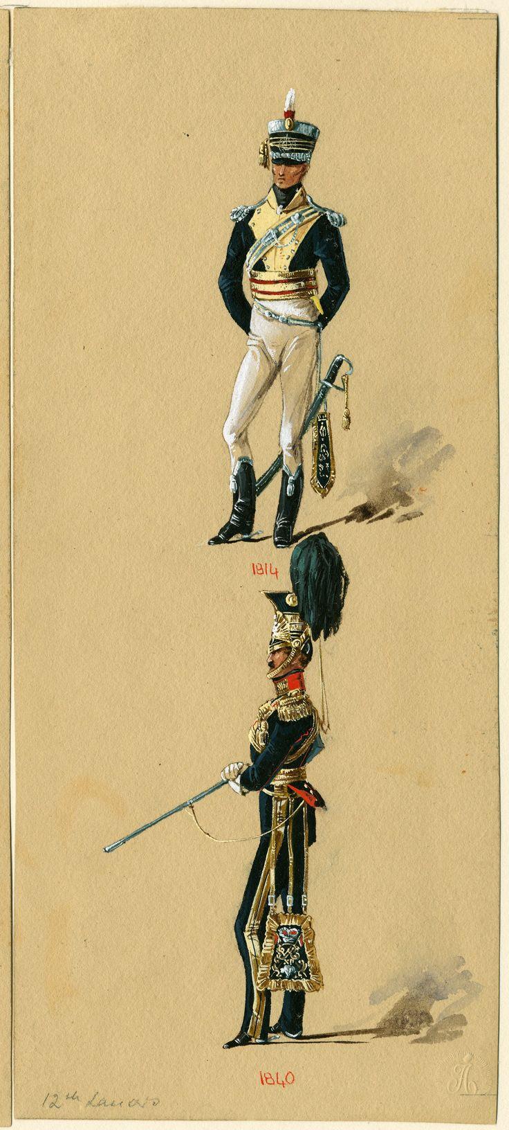 British; 12th Light Dragoons, Officer 1814 & 12th Lancers, Officer 1840 by Reginald Augustus Wymer