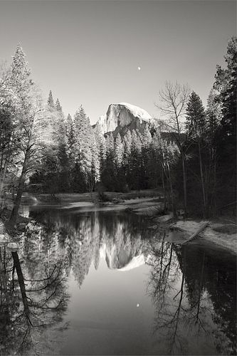 Frozen Lake, Half Dome and Moon | by Life In Fine Art http://lifeinfineartblog.blogspot.com.au/2014/04/when-you-learn-who-you-are-when-you.html