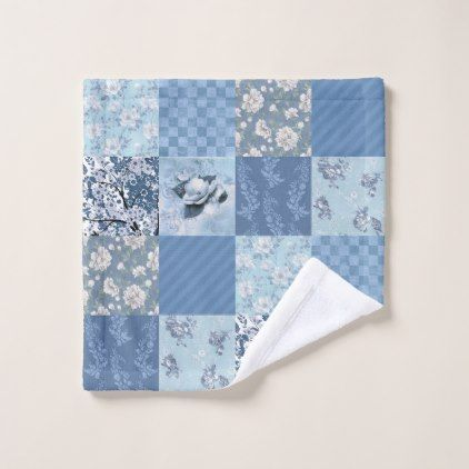 Blue Floral Patchwork Wash Cloth - home gifts ideas decor special unique custom individual customized individualized