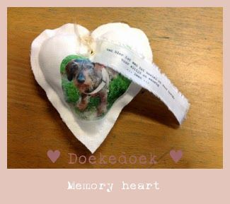 memory heart; handmade linen heart by Doekedoek with a photo of the lost pet