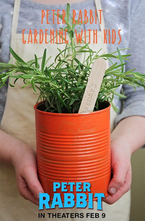Did you know you can turn painted tin cans into a cute kitchen herb garden? pin curated by @birdsparty for @peterrabbitmovie that hits theaters on Feb 9! #PeterRabbitMovie #ad