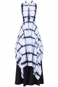 Black and White Tie and Dye Layered Dress  #blackandwhite #monochome…
