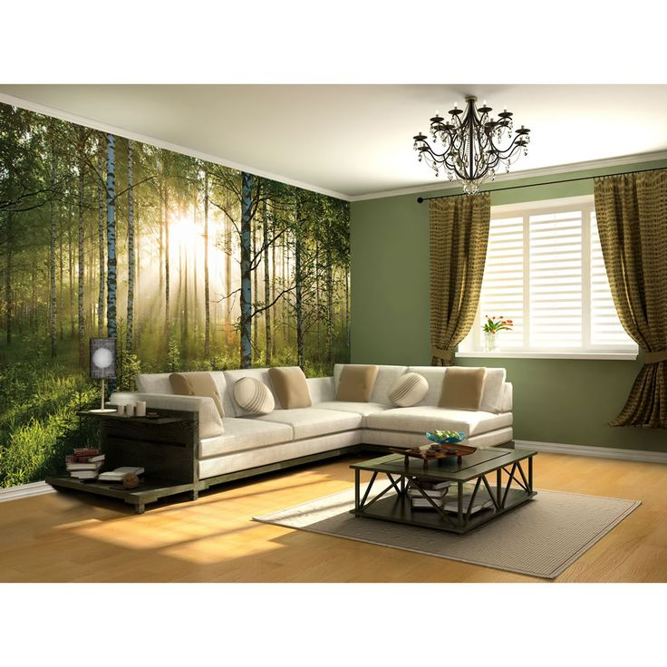 forest wallpaper from wilko Bed in living room, Home