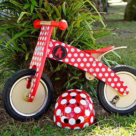 Buy Kiddimoto Kurve Balance Bike, Red & White Dotty Online at johnlewis.com