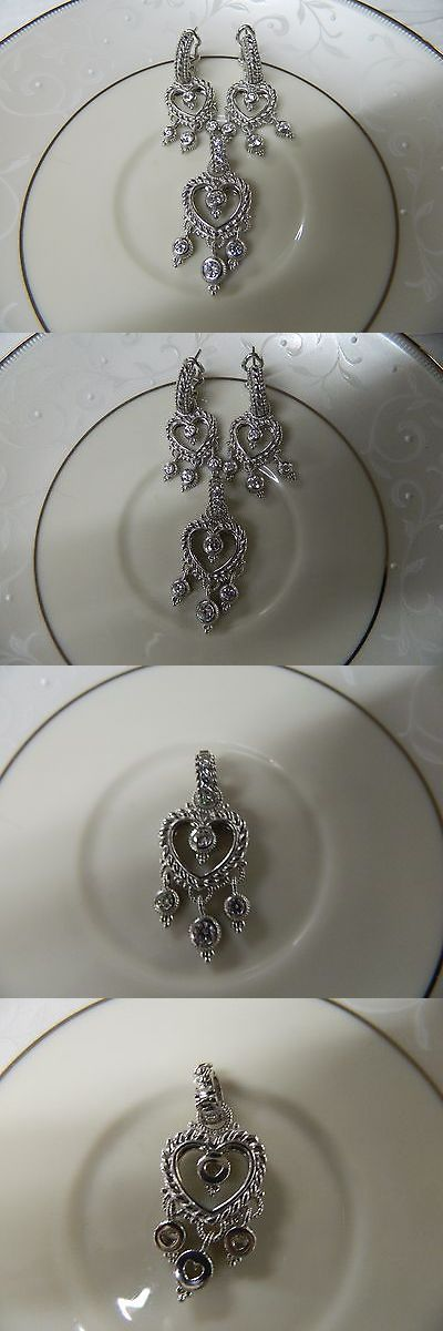 Precious Metal without Stones 164325: Authentic Judith Ripka Silver Diamonique Heart Dangle Pendant, Qvc -> BUY IT NOW ONLY: $199 on eBay!