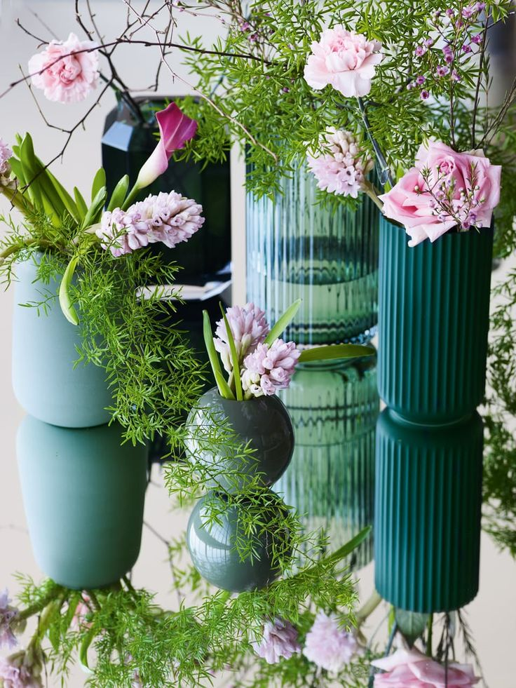 Cute And Beautiful Vases In Different Shapes And Sizes. The Different Green  Colours Are Modern