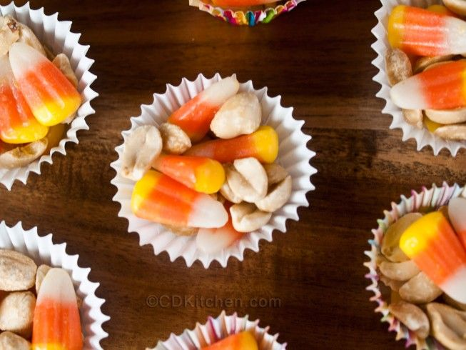 Halloween Payday Snack - CDKitchen.com -  Candy corn mixed with peanuts create a Halloween snack that tastes just like a Payday candy bar.