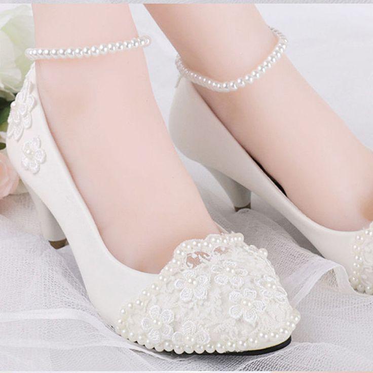 Romántico con Perla Arcos Boda Baja Partido Mary Janes Zapatos De Novia