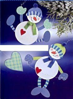 snowmen - paper craft pattern