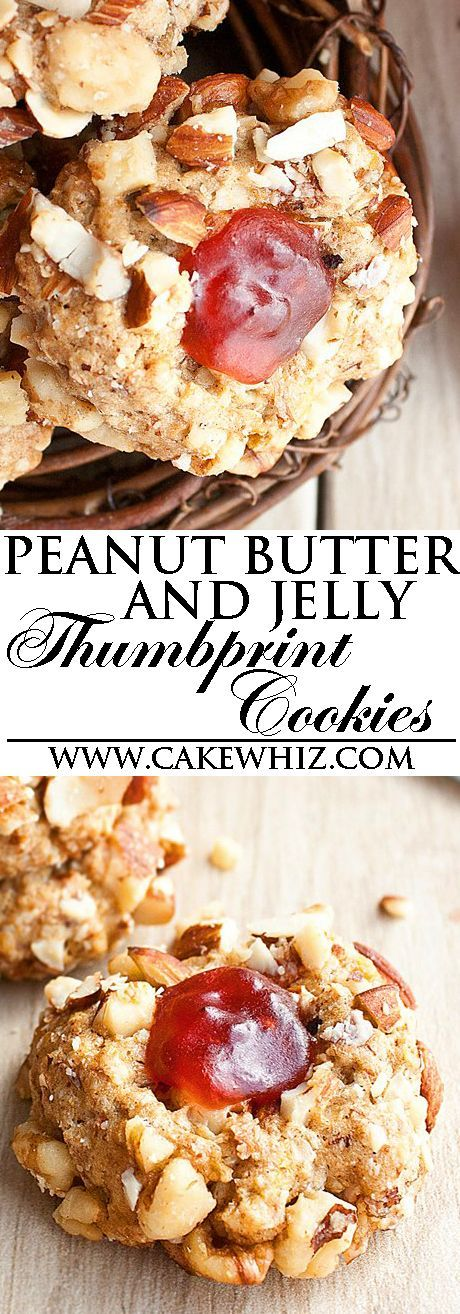 These easy sweet, salty, crunchy PEANUT BUTTER AND JELLY THUMBPRINT COOKIES have all the flavors of your favorite classic sandwich in cookie form. These peanut butter jelly cookies are great as a snack or homemade gift. From cakewhiz.com: http://cakewhiz.compeanut-butter-and-jelly-thumbprint-cookies/?utm_content=buffer5b57d&utm_medium=social&utm_source=pinterest.com&utm_campaign=buffer