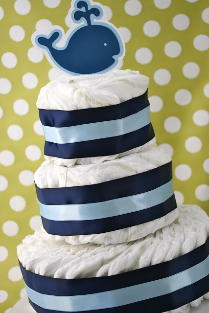 diaper cake: Shower Ideas, Cakes Tutorials, Cakes Ideas, Ideas Parties, Baby Gifts, Layered Diapers, Diaper Cakes, Whales Diapers Cakes, Baby Shower