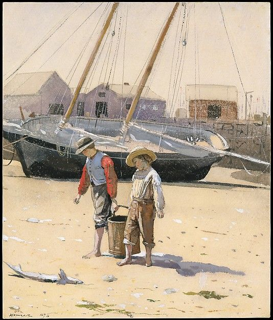 A Basket of Clams  Artist:Winslow Homer (American, Boston, Massachusetts 1836–1910 Prouts Neck, Maine) Date:1873 Medium:Watercolor on wove paper Dimensions:11 1/2 x 9 3/4 in. (29.2 x 24.8 cm)