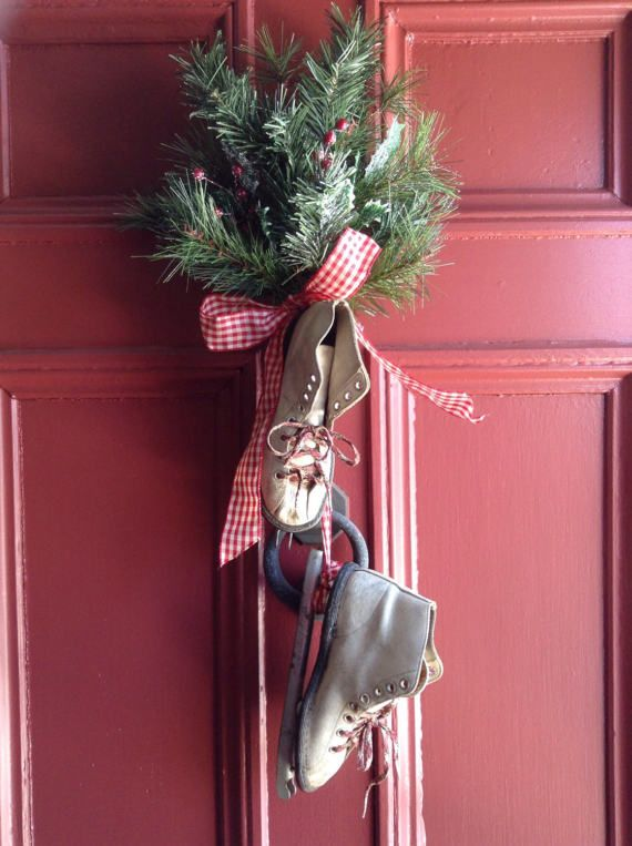 Vintage Child's Ice Skates Christmas/Winter Front Door Spray. Leather Double Runner Skates with Faux Greens,Red Gingham. Charming, Nostalgic
