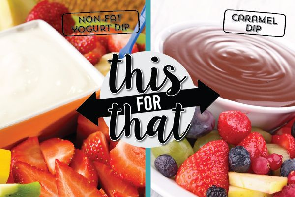 HEALTHY SWAP 3 of 10: Delicious non-fat yogurt makes a perfect simple fruit dip. You'll save money and calories choosing yogurt over caramel dip.