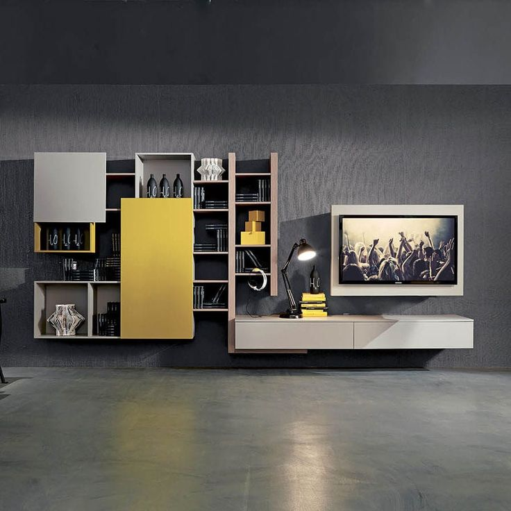 Contemporary TV wall unit / lacquered wood SIDE 2  Fimar Srl
