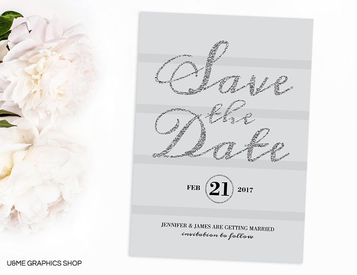 Silver Glitter Save The Date / U&Me Graphics