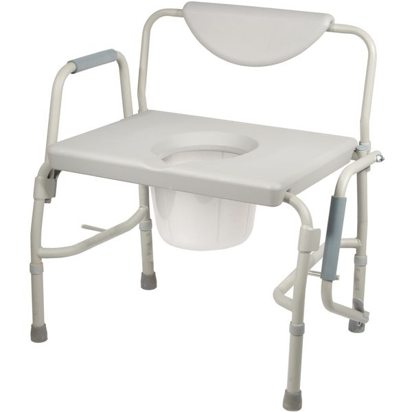 Bariatric Drop Arm Bedside Commode Chair Extra Large Toilet Portable