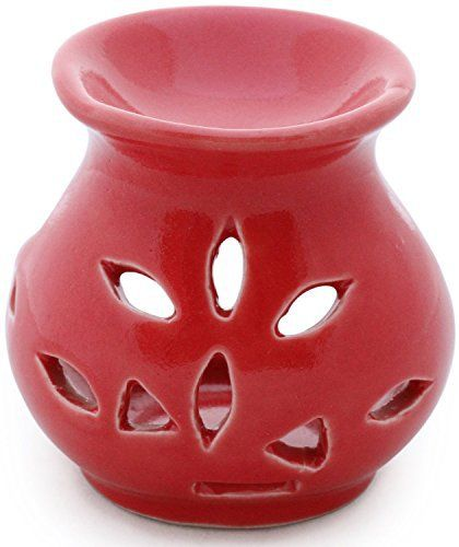 Offre Cadeau Idéal – SouvNear 9,1 cm Fait à la Main Rouge Céramique à Essentiel Huile Diffuseur / Huile Brûleur / Votive Porte-Bougie /…