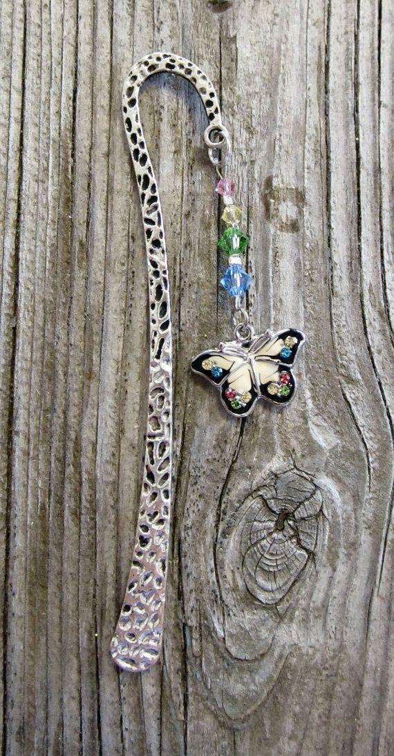 Butterfly bookmark metal bookmark Swarovski by MontanaMagic