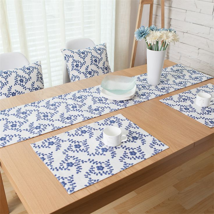 Blue Flower Wedding Decoration Home Dinner Table Mats Set For Plate Dish Placemat Heat Insulated