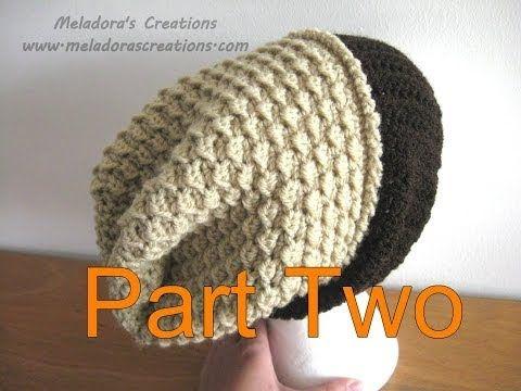 ▶ Moss Stitch Slouch Hat Tutorial Pt 2 - Crochet tutorial - YouTube