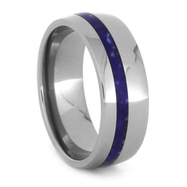 Lapis Lazuli Wedding Band With Titanium Sleeve And Edges 3434 Titanium Wedding Rings Wedding Rings Titanium Wedding Band