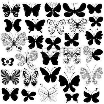 silueta flor: Colección grandes mariposas de silueta negra para el diseño de aislados en blanco (vector)  Vectores