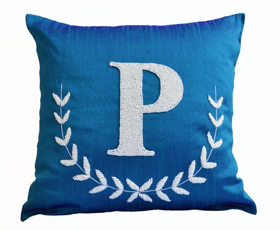 Monogram Pillow  Blue Silk Pillow  Customized by AmoreBeaute