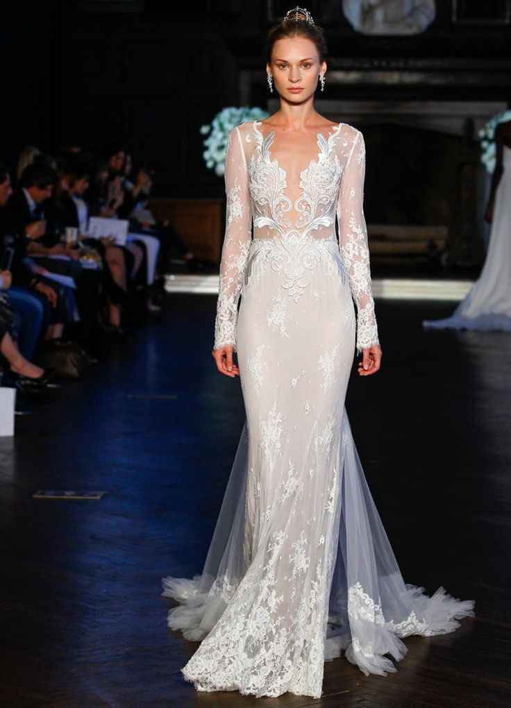 Alon Livne embroidered lace netting and mermaid silhouette wedding dress | https://www.theknot.com/content/alon-livne-wedding-dresses-bridal-fashion-week-fall-2016