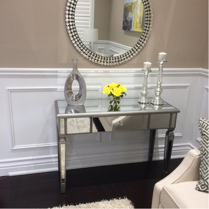 Loganne Mirrored Console Table Entryway Decor Small Living Room Modern Mirrored Console Table