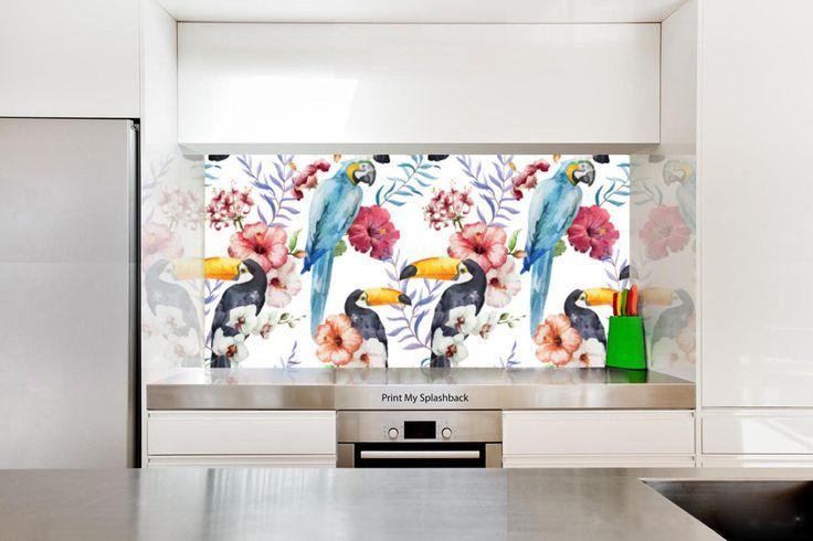 Digitally Printed Glass Splashback for Kitchen -  Birds - Tropical Bird in…