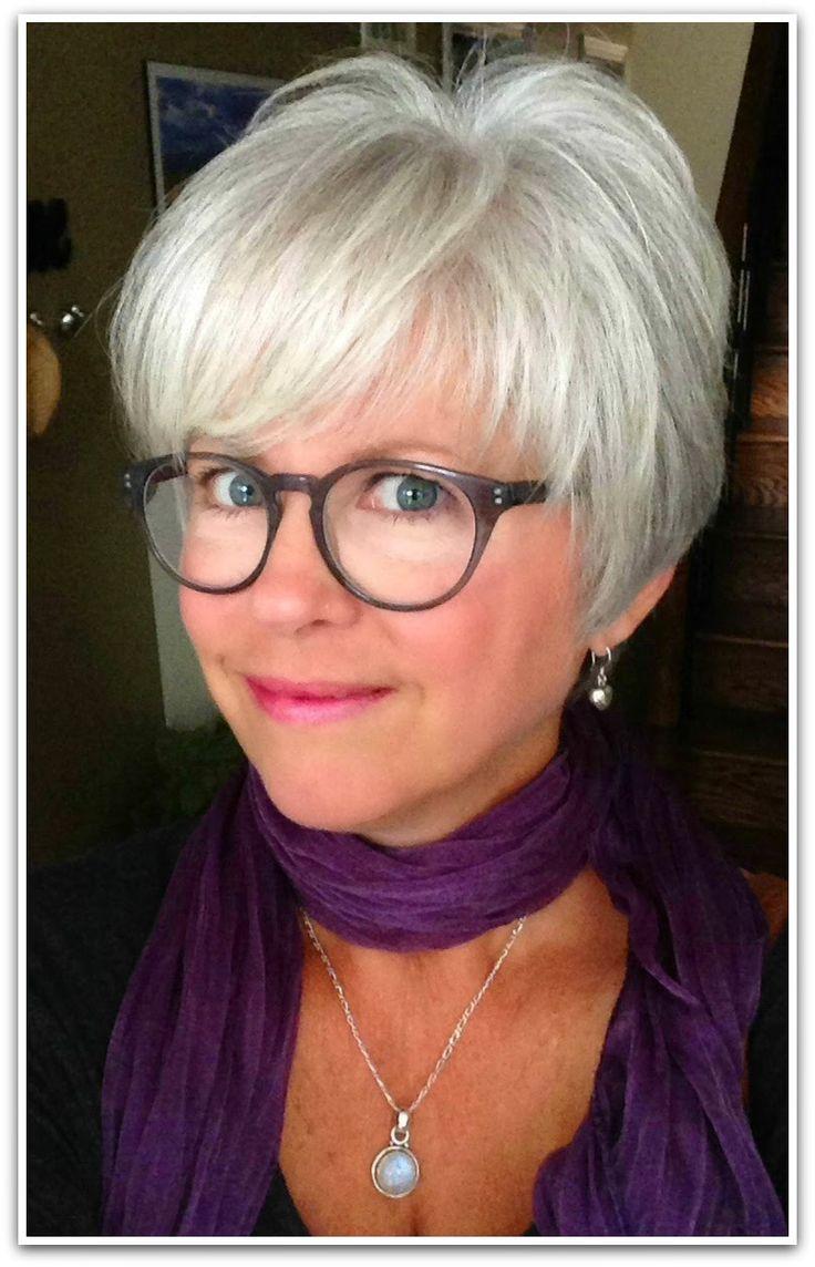 Color Eyeglass Frames Gray Hair : Best 25+ Short Gray Hairstyles ideas on Pinterest Short ...