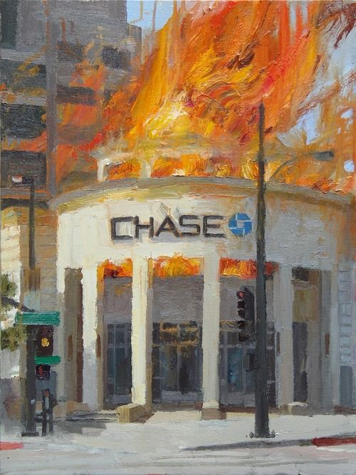 People really hate banks right now, so much that they are willing to take money out of those banks to buy pictures of those banks on fire. Alex Schaefer, who painted this lovely oil on canvas of a Chase bank on fire and then put it up for sale on eBay -- drawing attention from eager potential buyers as well as the police, who contacted him to find out if he was planning to set a bank on fire himself -- has made 25,200 dollars for the piece of art, which got 70 bids.