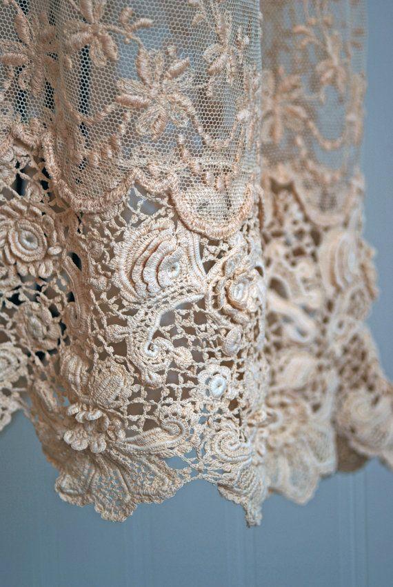 Detail of 1920's Antique Irish Crochet Dress