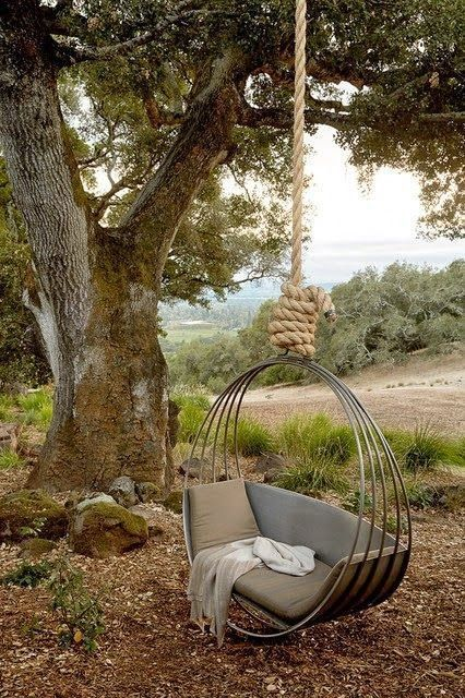 This is a beautiful hanging circle / hanging swing in a nice backyard.  This would be a great backyard swing idea. Hanging circle seat from a tree