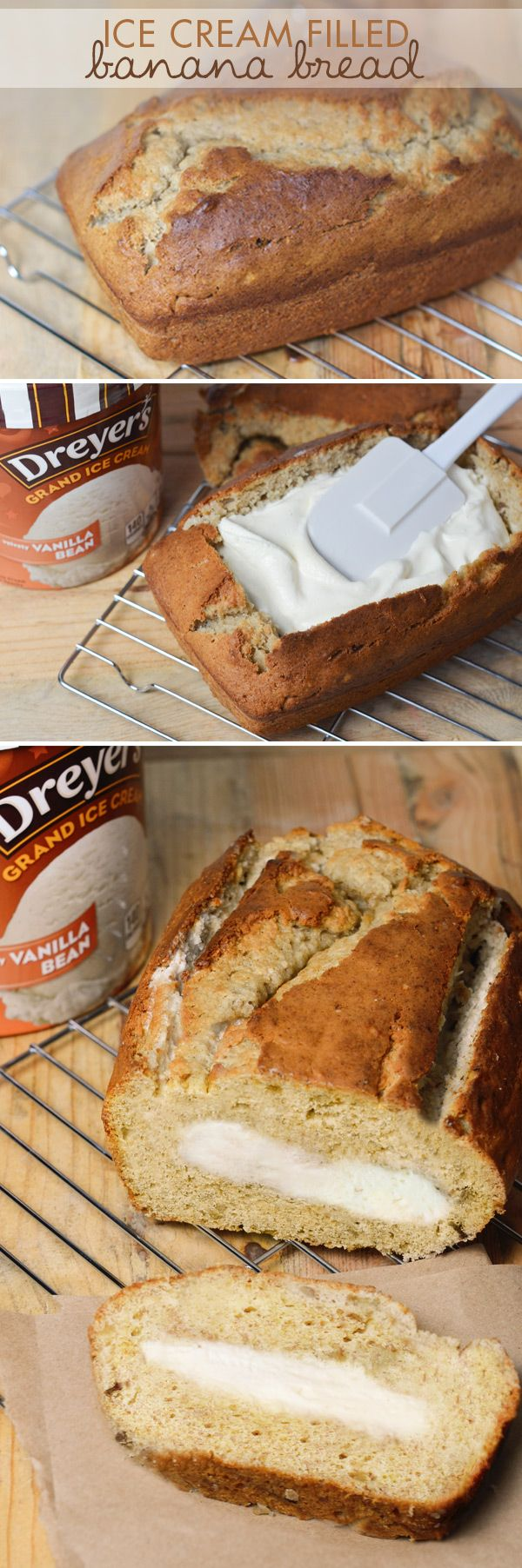 Dreyer's Ice Cream Filled Banana Bread: Homemade banana bread meets creamy Dreyer's vanilla ice cream in this cool take on the classic Fall treat. Just make your favorite banana bread recipe and let it cool. Then cut off the top, fill with ice cream, put the top back on and place in the freezer to set. After that? Just slice and enjoy!