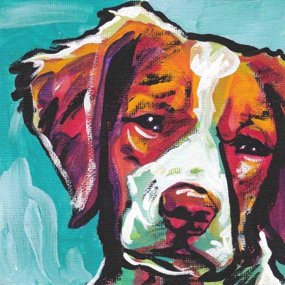 Brittany Spaniel portrait art print modern Dog pop art bright colors. #Dog #Modern #Art