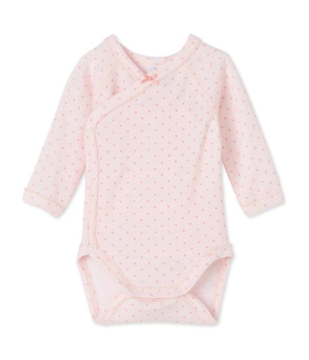 Body naissance bébé fille manches longues laine et coton Petit Bateau rose