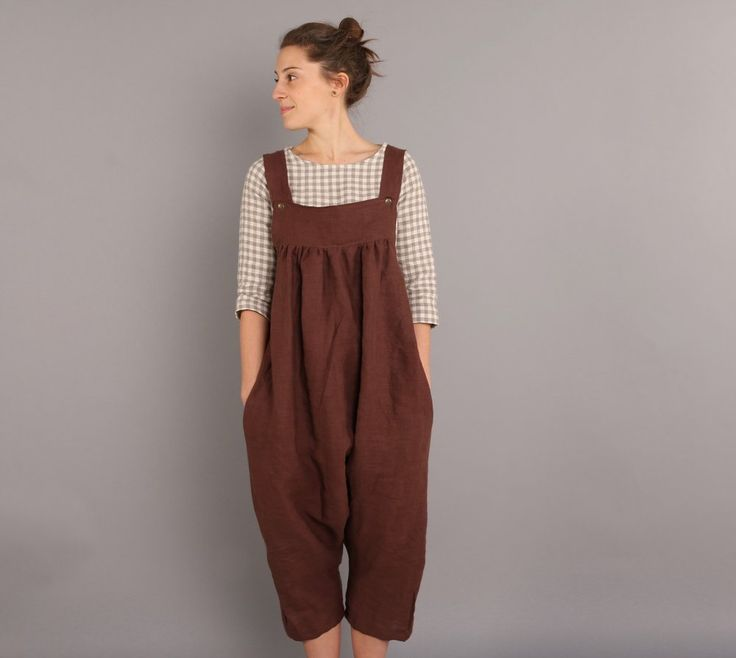 Once you put these overalls on you won't be able to take them off! They are amazingly comfortable and versatile. We love the subtle harem-style cut and fun overall style. These will go great with a linen tee or thrown over a swimsuit. The organic linen is durable, so go ahead and wear them eve
