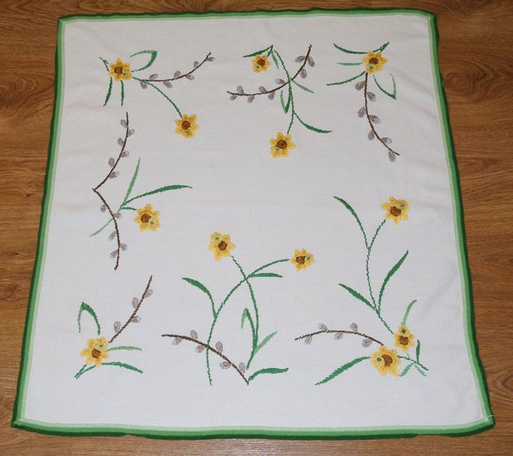 Hand embroidered Easter floral traycloth Polish Spring table decoration Flowers Embroidery Green Yellow White dresser scarf catkins daffodil by VintagePolkaShop on Etsy