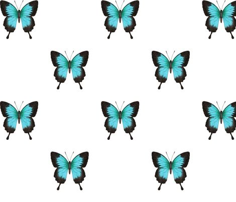 Ulysses Butterfly - simple repeat on white fabric by hazel_fisher_creations on Spoonflower - custom fabric  Blue Butterfly design by Hazel Fisher Creations.  Available on fabric, wallpaper and giftwrap!