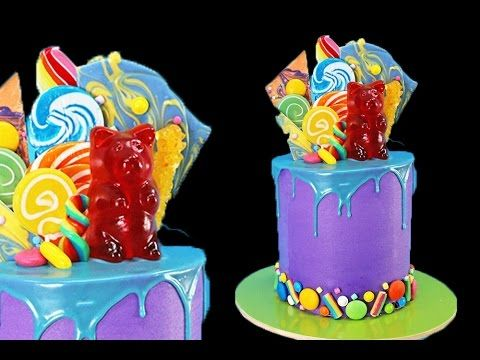 Candy Drip CAKE! Ultimate Candy Explosion Cake with MEGA Giant Gummi Bear! - YouTube